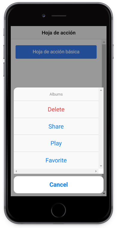 ActionSheet visto en dispositivo iOS