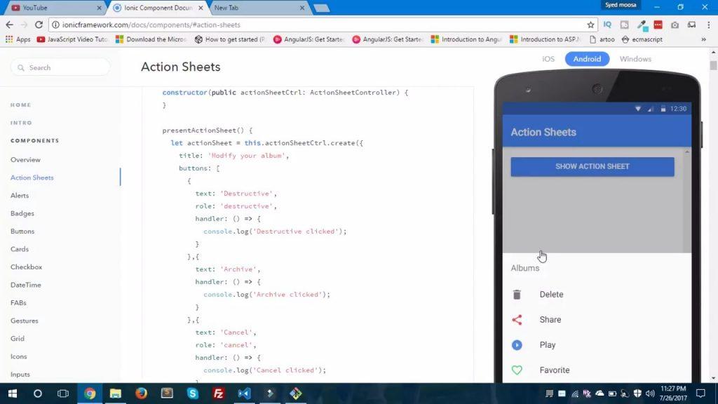 ActionSheet Ionic ejemplos y más información